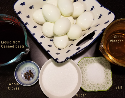 Ingredients for pink pickled eggs