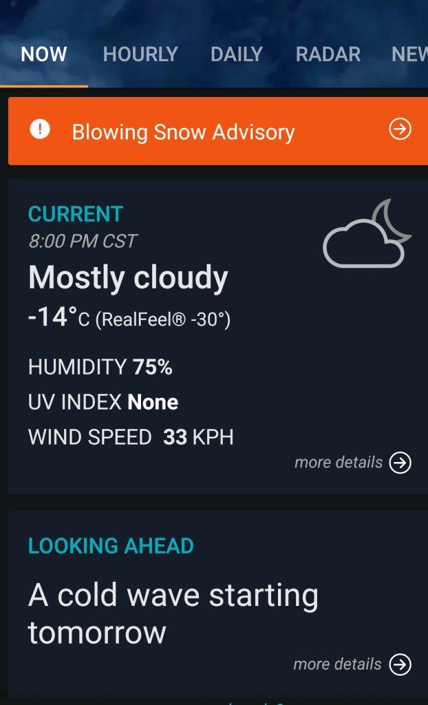 Weather app screen cap.