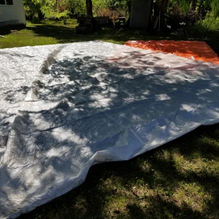 20190730.garden.progress.found.giant.tarp